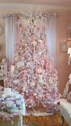 Here are the best Shabby Chic Christmas Decor ideas that& give your room a romatic touch. From Pink Christmas Tree to Shabby Chic Christmas Ornaments etc Shabby Chic Christmas Ornaments, Elegant Christmas Trees, Pink Christmas Decorations, Gold Christmas Tree, Christmas Room, Christmas Mantels, Christmas Tree Themes, Beautiful Christmas, Victorian Christmas