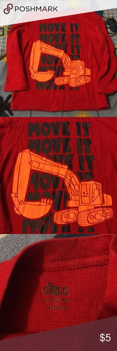 """Circo """"move it"""" red thermal orange truck My son loved this thermal because of it being his favorite color RED. Lol. It's in awesome shape despite the love he had for this. Tag reads 3T. Please feel free to ask any questions! Thanks so much! 🖤 Circo Shirts & Tops Tees - Long Sleeve"""