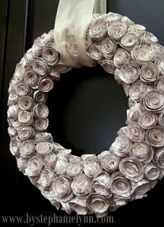 Curled Rosewood Wreath Made From Rolled Recycled Book Pages