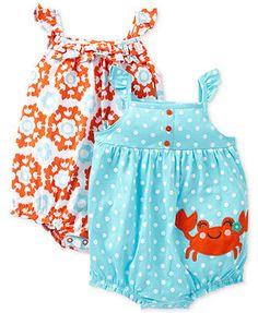 $12.99 pink Carter's Baby Girls' 2-Pack Sleeveless Romper Set