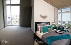 Apartamento pequeno: decoração contemporânea  Cinza e teal