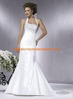 Robe de mariée sirène bretelle au cou avec traîne