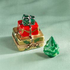 Limoges Tower of Gifts with Christmas Tree Box