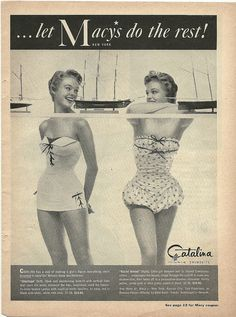 Vintage swimwear is darling!  Two 1950s Catalina bathing suits Women's vintage fashion photography image photo