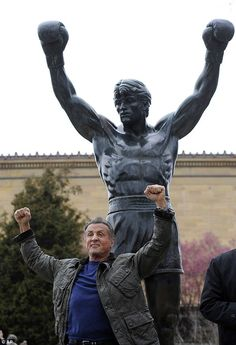 Sylvester Stallone has spent the past week in Philadelphia filming scenes for his forthcoming movie, Creed II. On Friday, the actor visited the famed Rocky statue at the city's Museum of Art Rocky Balboa Movie, Rocky Balboa Quotes, Rocky Film, Sylvester Stallone, The Rock, Andre Luis, Stallone Rocky, Rocky Steps, Rambo