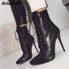 0ff694508 US $21.77 47% OFF|Aneikeh Women Ankle Spring/Autumn Boots PU Leather  Pattern Pointed Toe Lace Up Thin High Heels Shoes Sexy Fashion Chelsea Boots-in  Ankle ...