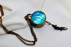 Real Blue Morpho Butterfly Wing Bubble Pocket Watch Necklace antique bronze Morpho zephyrities clock watch by Athenianaire