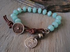 Amazonite bracelet - Live Love Laugh - sky blue sterling silver dangle charm bracelet, leather sundance inspirational boho