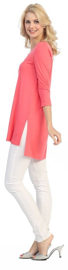 - 95% Rayon/ 5% Spandex - Jubilee Couture's Signature Fabric - Made in USA - Loose. Comfortable, Stretch. Elegant relaxed and easy fit - It's easy to mix and match with any casual or formal bottoms St