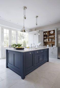 15 Impressive Blue Kitchen Paint Cabinet Design You Have To See Blue Kitchen Paint, Blue Kitchen Island, Blue Kitchen Decor, Kitchen Redo, Living Room Kitchen, Kitchen Interior, New Kitchen, Dark Blue Kitchen Cabinets, Kitchen Ideas
