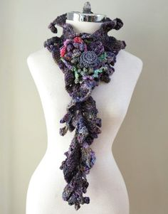 Floral Eclectic Scarf Purple Green Blue by ValerieBaberDesigns