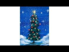 Simple Christmas TREE Step by Step Acrylic Painting on Canvas for Beginners - YouTube