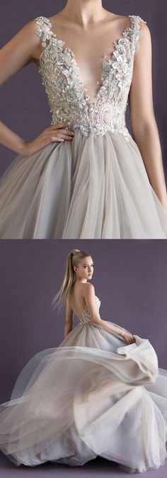 New Style Prom Dresses Charming Prom Dress New Fashions Grey Tulle Evening Dress Elegant Prom Gowns for Spring Teens