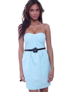Strapless Sweetheart Bodice Mint Side Pocket Dress,  Dress, sweetheart top  casual  mint color, Casual #UsTrendy, #Spring, #Style