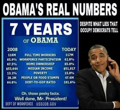 "So much for the lies on the part of BO, The Dem Lib-left, the Mainstream Media on ""how great Barry was at doing his job""...the numbers say he was awful, and the numbers don't lie."