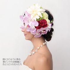 hiila(イーラ)ピンク胡蝶蘭ヘッドドレス(白ダリア)2