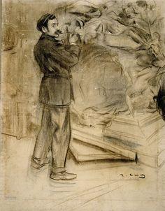 The Athenaeum - Portrait of Marià Benlliure (Ramon Casas y Carbó - ) Fine Art Drawing, Guy Drawing, Figure Drawing, Drawing Sketches, Sketching, Ramones, Modernisme, Storyboard Artist, Sketch Painting