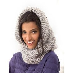 Cover up with a thick knit hood using Lion Brand® Wool-Ease® yarn.