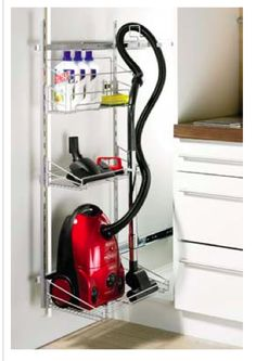 Fabritec vacuum storage for laundry/bathroom More (organization ideas for pantry cleaning supplies) Vacuum Cleaner Storage, Cleaning Supply Storage, Cleaning Closet, Cleaning Supplies, Pantry Laundry Room, Small Laundry Rooms, Laundry Room Organization, Organization Ideas, Storage Ideas