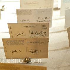 Vintage Postcard Escort Cards- great for a destination wedding