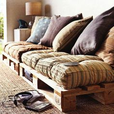 DIY crate couch great for lounge areas, studio apartments , patios and dens.