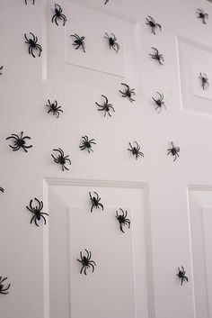 I would make a few big legs that stick out of the top of the door. Put the little spiders close together near the top and then gradually space them out so it looks like there's a huge mother spider and lots of babies crawling out.
