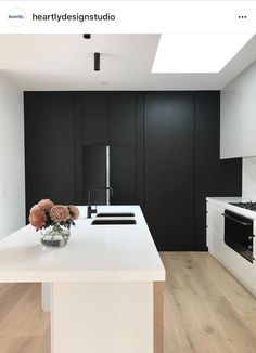 Kitchen goals 🖤 Loving the sleek black cabinetry against the white island bench in this design by . Kitchen On A Budget, Home Decor Kitchen, Kitchen Design, Kitchen Ideas, Interior Styling, Interior Decorating, Interior Design, Black Kitchens, Home Kitchens