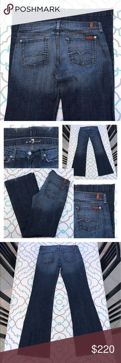 """💙👖Awesome 7FAM Dojos!👖💙30 9/10 33.5"""" Squiggle! 💙👖Awesome 7 For All Mankind Dojos!!!👖💙 Size 30 (9/10). Long & Tall! 33.5"""" Inseam. Plenty of room to hem if desired. 8"""" Rise. 16"""" Across Back. Great Stretch. Faded Dark Blue. Light Fading. The oh so hard to find hard to find Signature Squiggle Back Pockets Dojos! Gorgeous Fit! Subtle Pocket Detail! Light Fray on hems. Wide Leg! Super Cute! Super Flattering! LOVE! 7FAM!  Anthro! Anthropologie! Ask me any questions! : ) 7 For All Mankind…"""