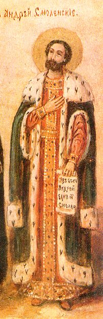 """Grieved by his brothers' power struggle, Holy Prince Andrew of Smolensk left his family in secret. He wandered through the land and spent 30 years as warden at the church of Saint Nicholas near which he is buried. He never told anyone who he was. After his death were discovered a princely ring, a gold chain, and the inscription, """"I am Andrew, one of the Smolensk princes."""" (Uncovering of his relics celebrated Oct 27)"""