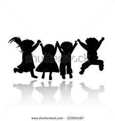 Happy Kids Jumping; Silhouette Illustration - 223931467 : Shutterstock