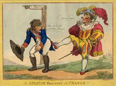 """Carte représentant Joseph Bonaparte ( Roi d'Espagne 1808-1813) remercié par """" les espagnols"""" ."""