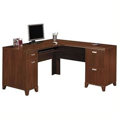 LShaped Storage Desk in Hansen Cherry  Tuxedo >>> To view further for this item, visit the image link.Note:It is affiliate link to Amazon.