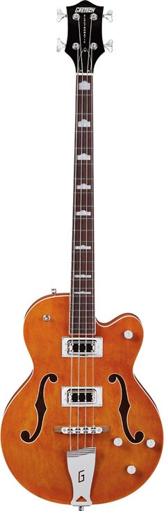 "The Electromatic Hollow Body Long-Scale Bass is a stylishly seismic new Gretsch bass guitar armed with two powerful new ""Black Top"" Filter'Tron bass pickups. Learn Guitar Online, All Music Instruments, Gretsch Electromatic, All About That Bass, Guitar Design, Mandolin, Cool Guitar, Music Stuff, Acoustic"