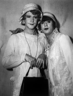 Portrait of Jack Lemmon and Tony Curtis on the set of  Some Like It Hot directed by Billy Wilder, 1959