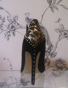 Black and gold custom shoes by CherryBomb