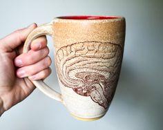 HUMAN BRAIN MUG // modern mug - pottery mug handmade mug handcrafted mug beer mug modern home steampunk modern kitchen red bright red poppy by FunctionPottery on Etsy https://www.etsy.com/listing/488024951/human-brain-mug-modern-mug-pottery-mug