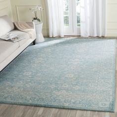 Safavieh Evoke Light Blue/ Ivory Rug (6' 7 Square) by Safavieh