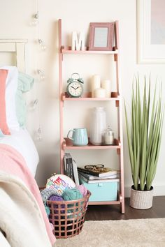 rose gold next to book corner