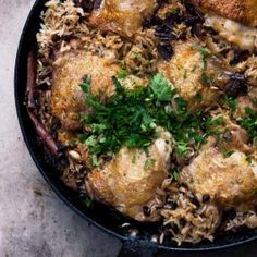 Chicken with caramelized onion and cardamom rice