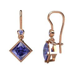 Princess Tanzanite 14K Rose Gold Earrings