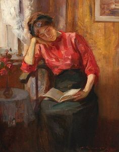 ✉ Biblio Beauties ✉ paintings of women reading letters and books - Nicolae Vermont   Lectura, 1919