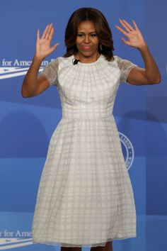 Michelle Obama in Black Print Dress at DC Panel - Fashion and Beauty Pictures of Michelle Obama