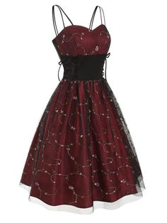Photo Gallery - Flower Embroidered Lace Up Party Dress Cute Prom Dresses, Pretty Dresses, Beautiful Dresses, Short Dresses, Emo Dresses, Girly Outfits, Pretty Outfits, Dress Outfits, Fashion Dresses