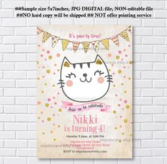 cat invitation girl birthday party kitten white cat animal party children kitten birthday invite for any age card 1169 Little Girl Birthday, Cat Birthday, Birthday Cards, Birthday Parties, Birthday Sayings, Birthday Ideas, Kitten Party, Cat Party, Card Book