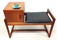 Retro Vintage Mid-Century Teak Hallway/Telephone Seat