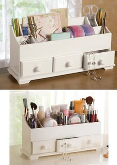 PRODUCT DETAILS : Contain the clutter on your countertop with this convenient organizer. Classically-styled white organizer features 3 deep drawers in front, a large compartment in the center and 6 [ ]