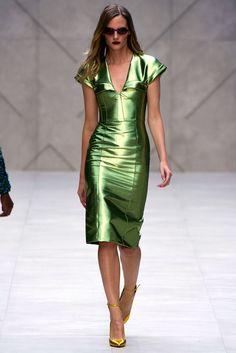 green metallic leather dress - burberry prorsum - spring 2013 rtw