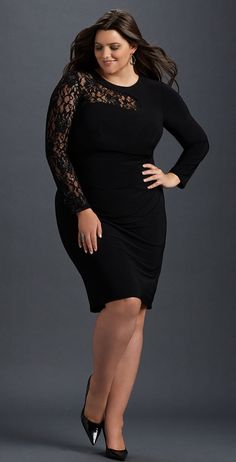 Plus Size Lace Inset Dress