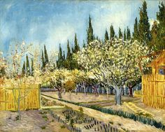 """Orchard Bordered by Cypresses  by Vincent Van Gogh - Seen as part of the exhibit """"Van Gogh and Nature"""" at The Clarke Art Institute, Williamstown, MA - September 2015"""