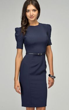 Blue pencil dress / short sleeves elegant woman / by PlayFashion Best Prom Dresses, Modest Dresses, Pretty Dresses, Casual Dresses, Dresses For Work, Office Dresses, Pencil Dress Outfit, Dress Outfits, Fashion Dresses